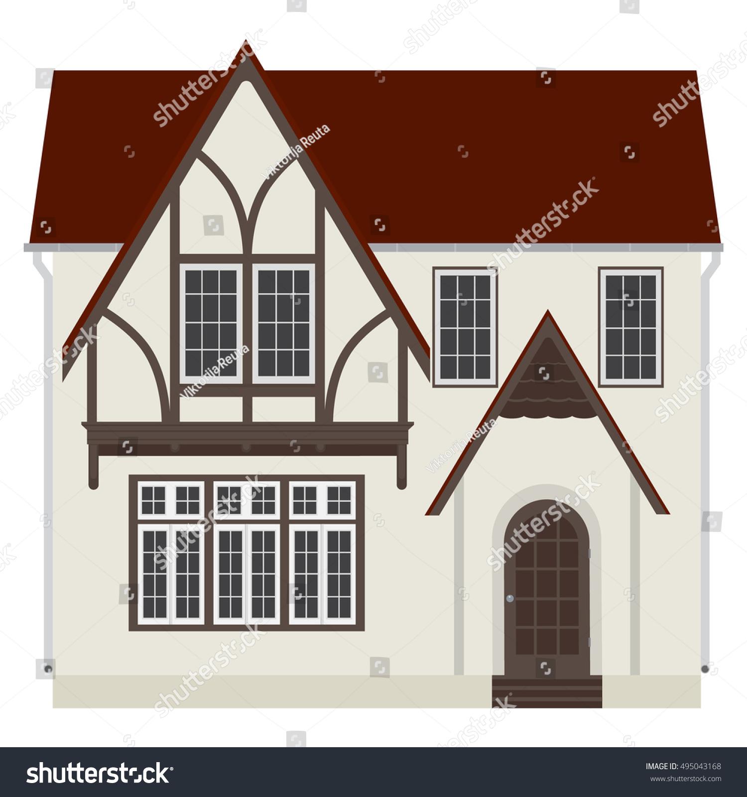 vector illustration medieval german house fachwerk stock vector