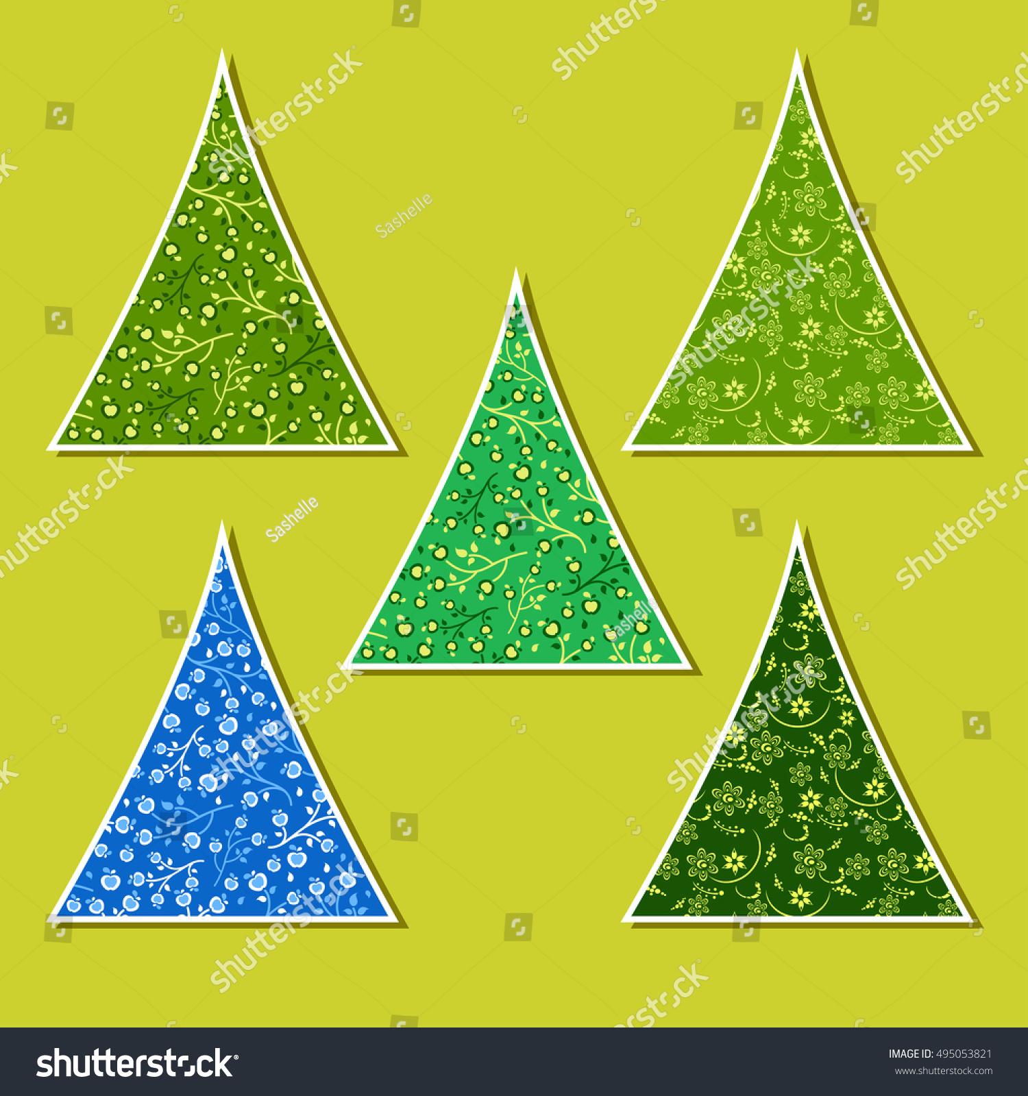 Set Vector Ornamental New Year Trees Stock Vector 495053821 ...