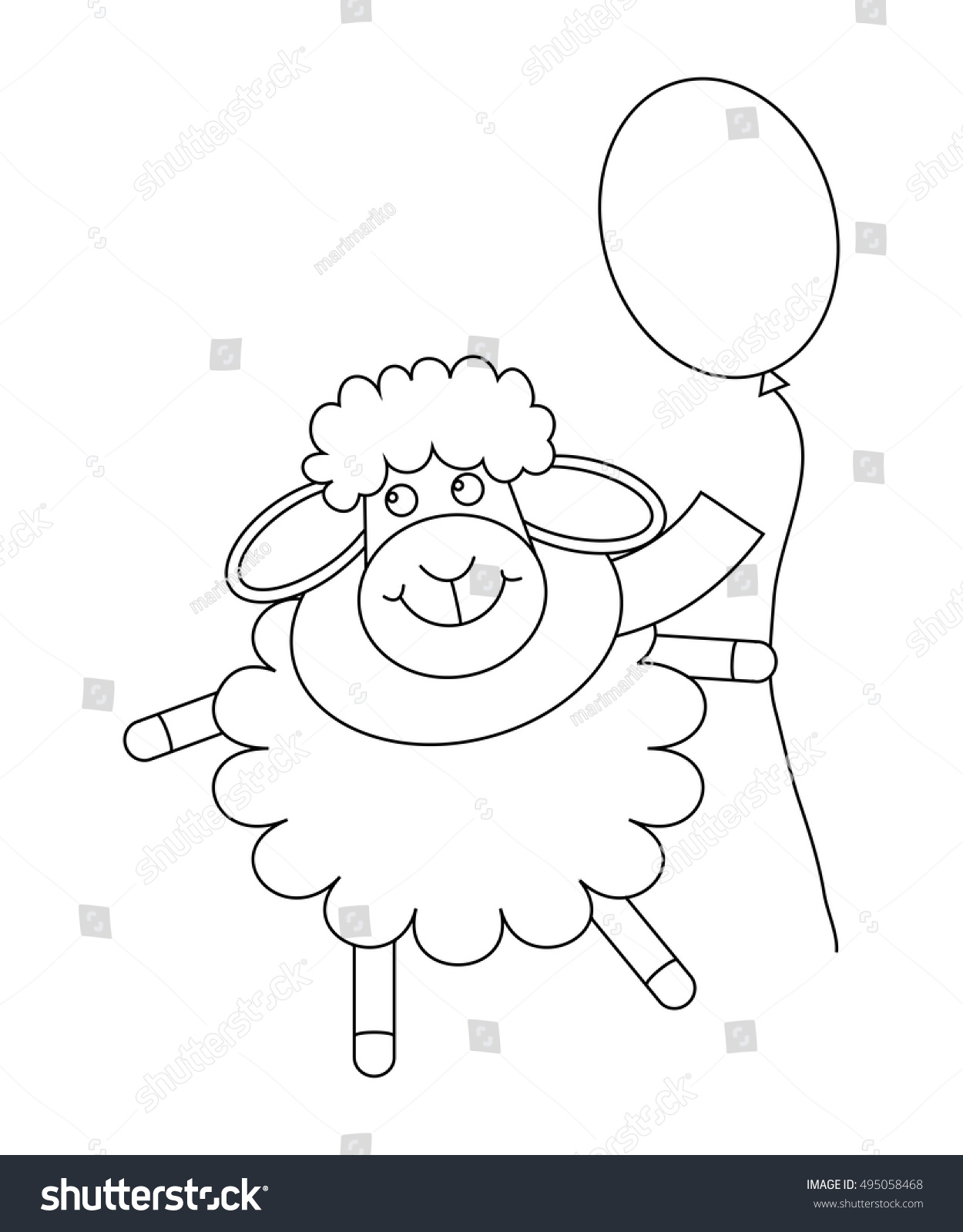 Cute Cartoon Sheep With Balloon Outlined Animal Coloring Page For Children Or Greeting Card