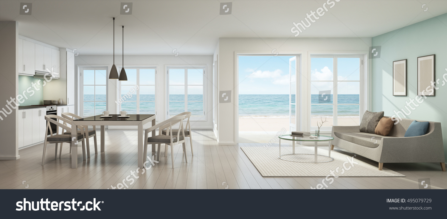Sea View Dining, Living Room And Kitchen In Beach House   3D Rendering Part 97