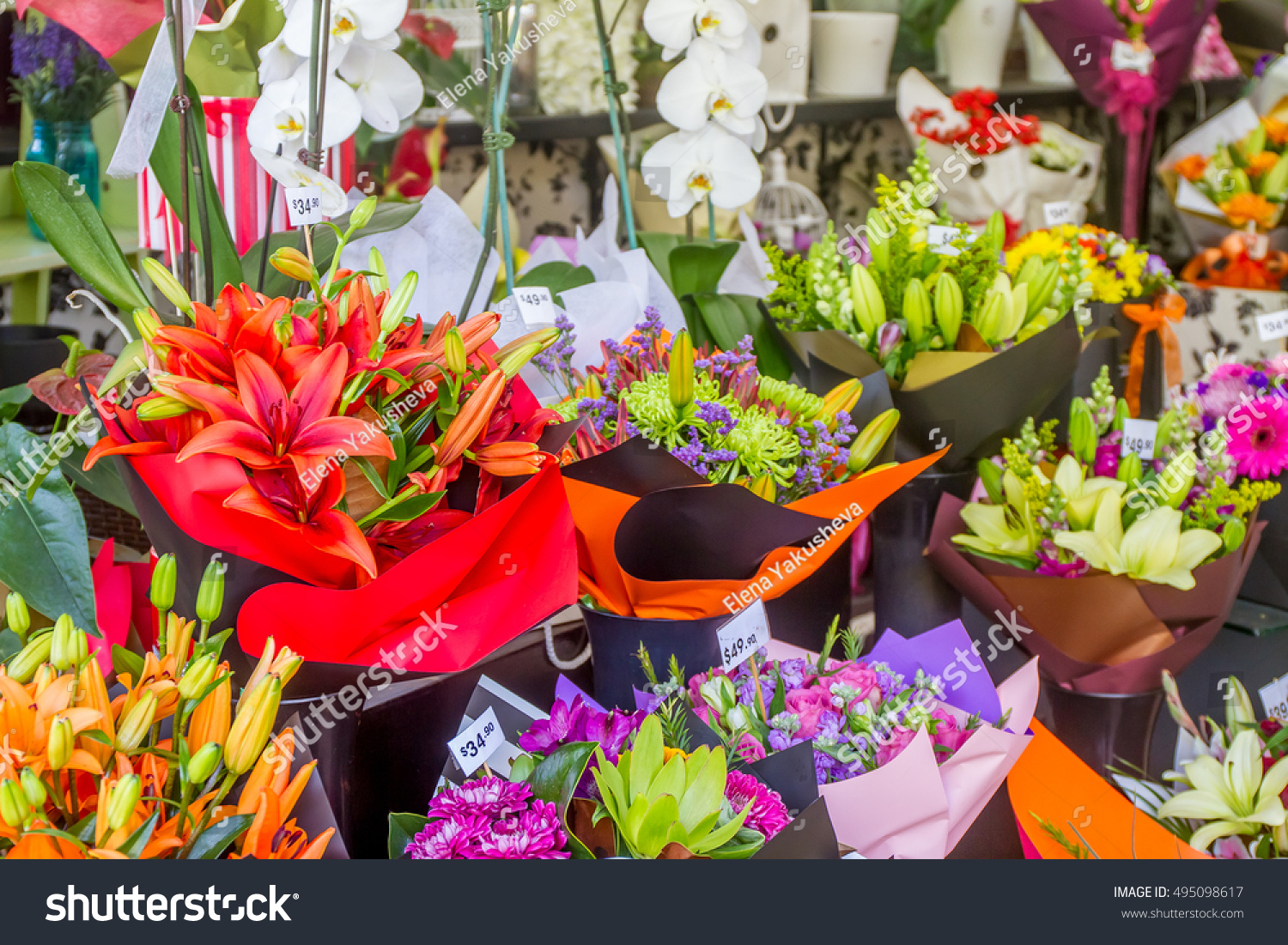 Flower Market Miscellaneous Colored Flowers On Stock Photo (Edit Now ...
