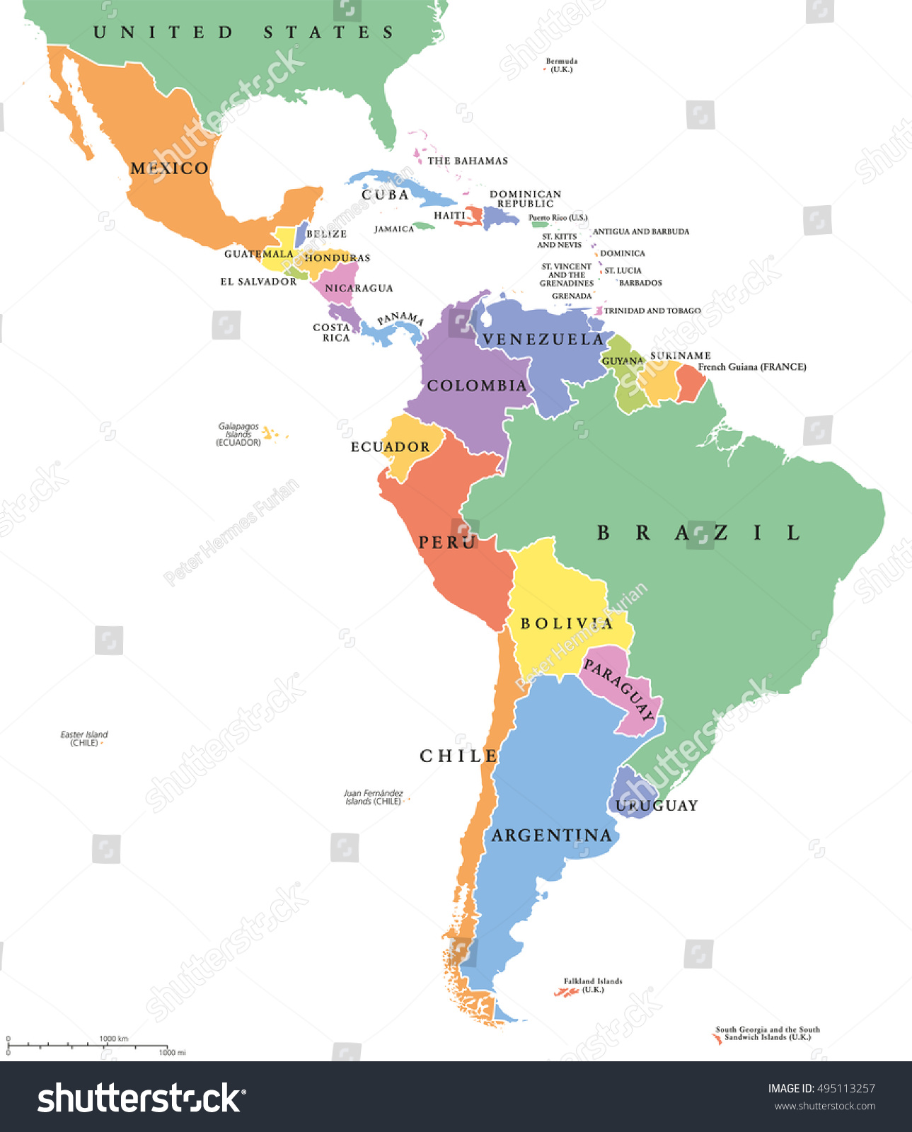 latin america single states political map stock vector