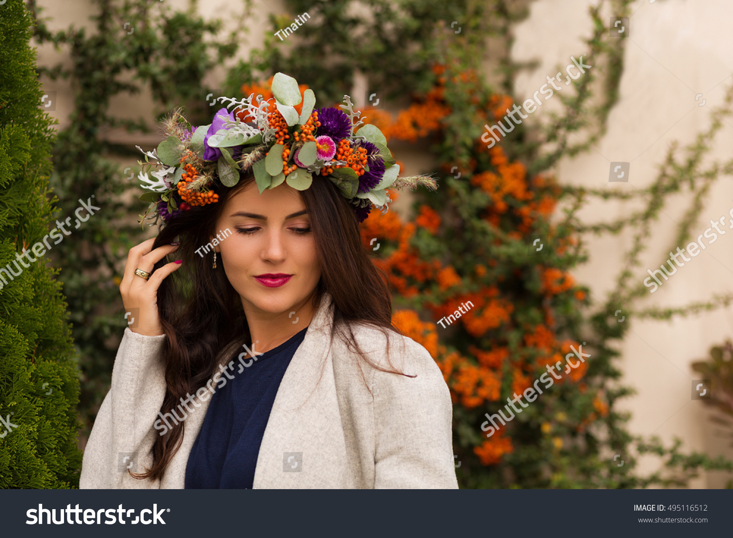 Pretty Woman In A Flower Crown In An Autumn Garden Ez Canvas