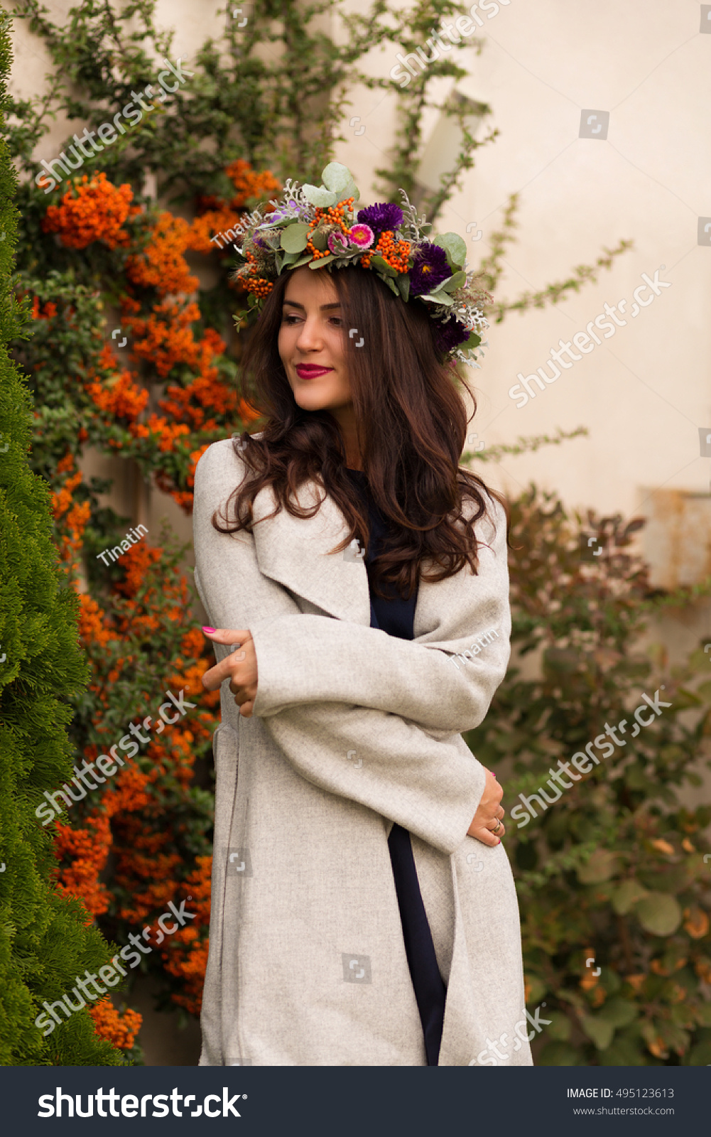 Pretty Woman Flower Crown Autumn Garden Stock Photo Edit Now