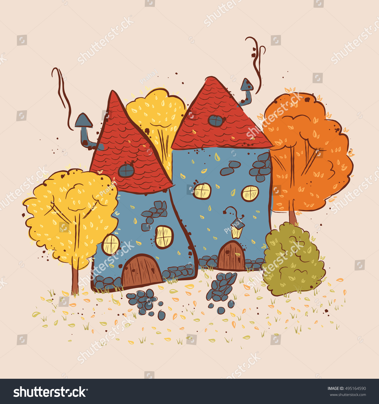 small houses gnome autumn scene with a house and trees suitable for printing on - Gnome House S Design