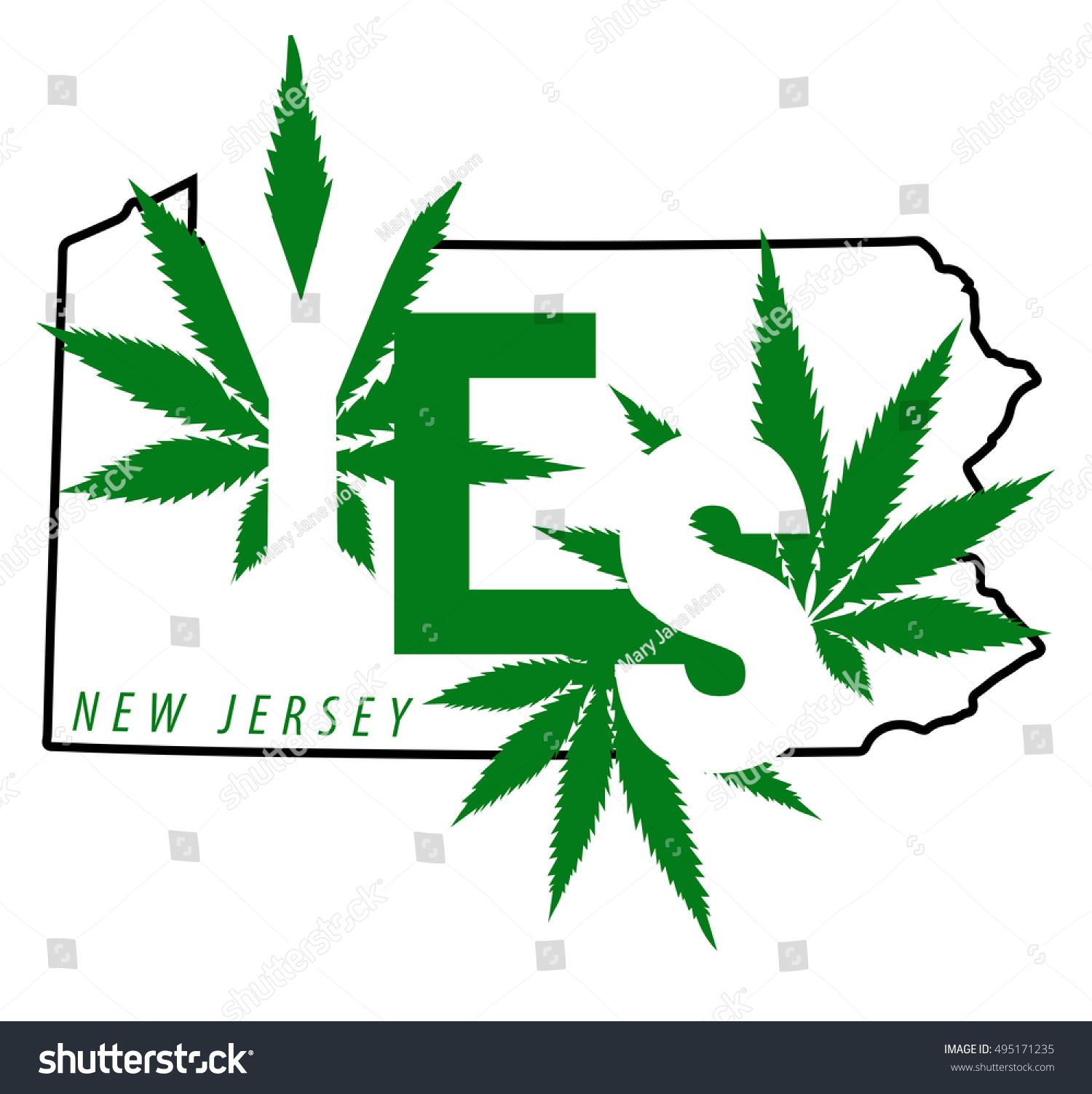 New Jersey Legalize Cannabis Medical Marijuana Stock Vector Royalty