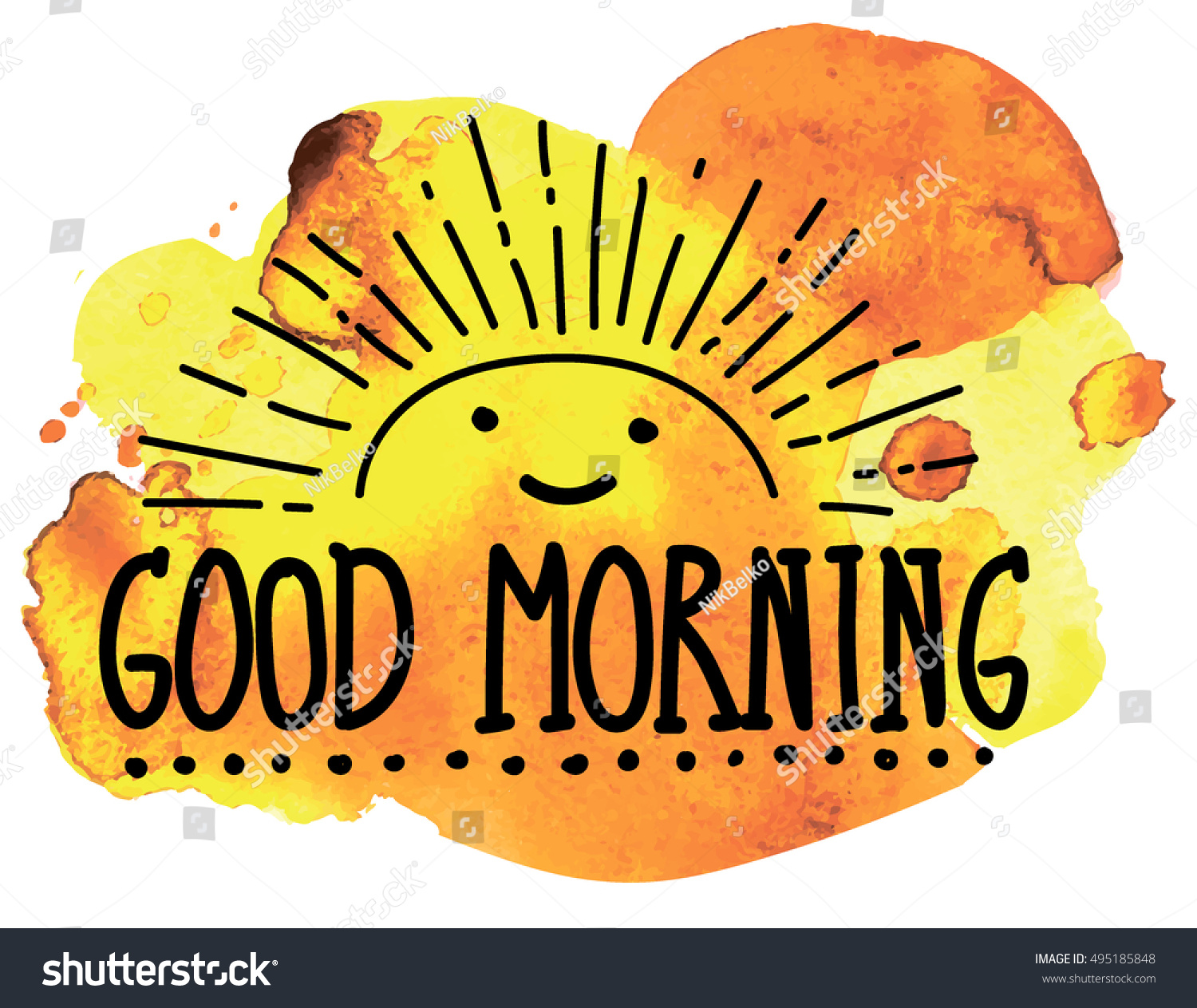 Good Morning Sunshine Letter : Good morning cute pattern sun letters stock vector