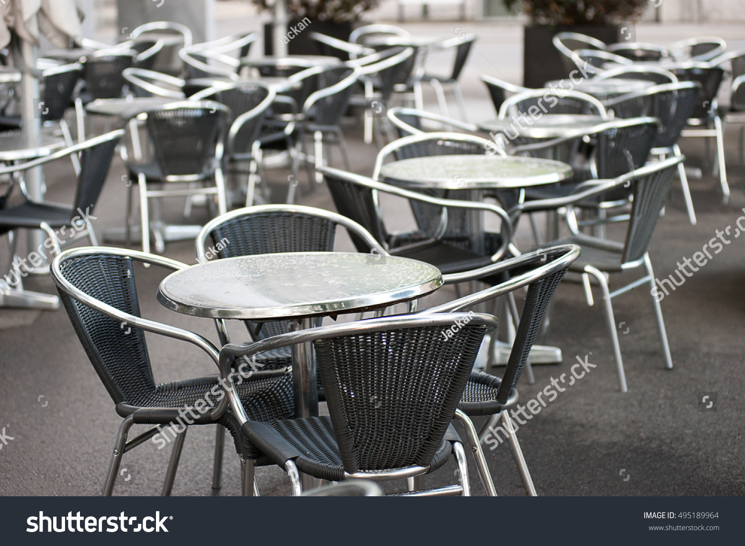 Outdoor Coffee Shop Metal Tables Chairs Stock Photo Edit Now 495189964