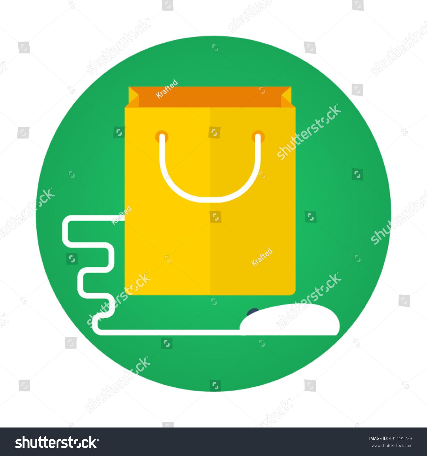 Shopping Bag Mouse Flat Vector Icon Stock Vector 495195223 ...