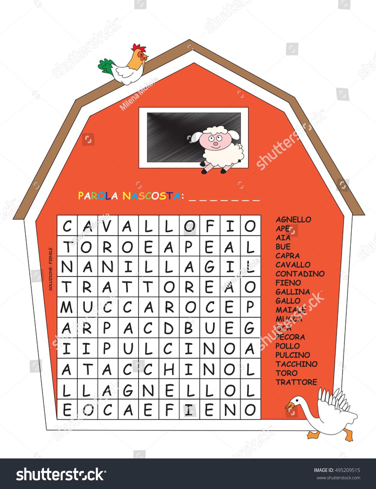 Game Children Crossword Italian Stock Illustration 495209515 ...