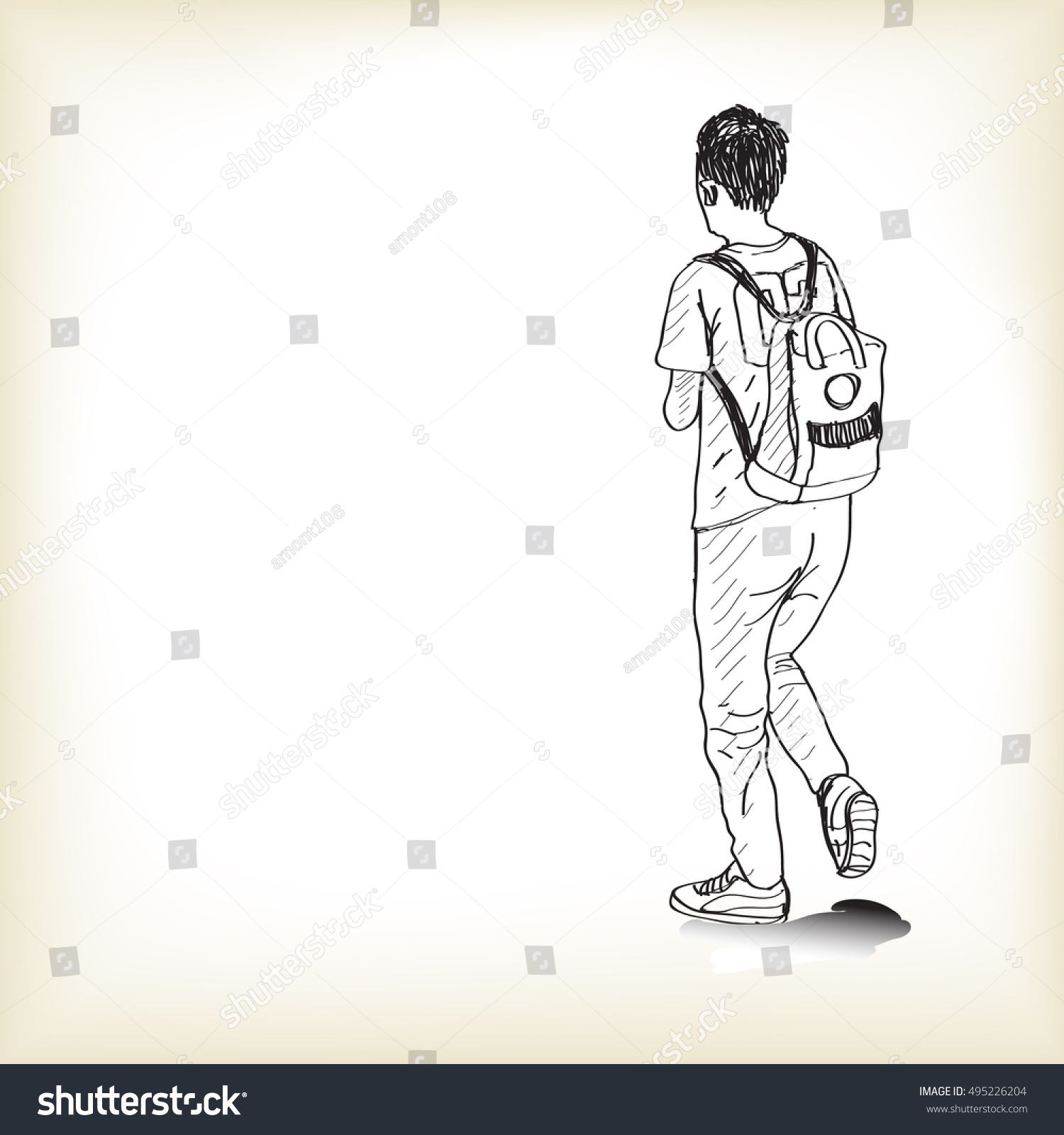 Sketch a boy walking with backpack to school free hand draw illustration vector