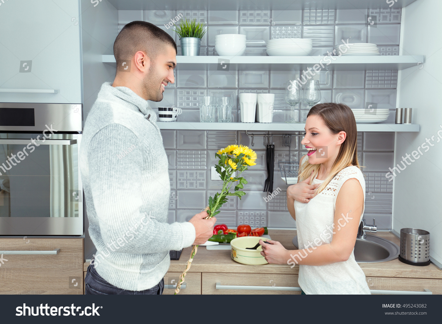Young Couple Cooking Kitchen Young Man Stock Photo (Royalty Free ...