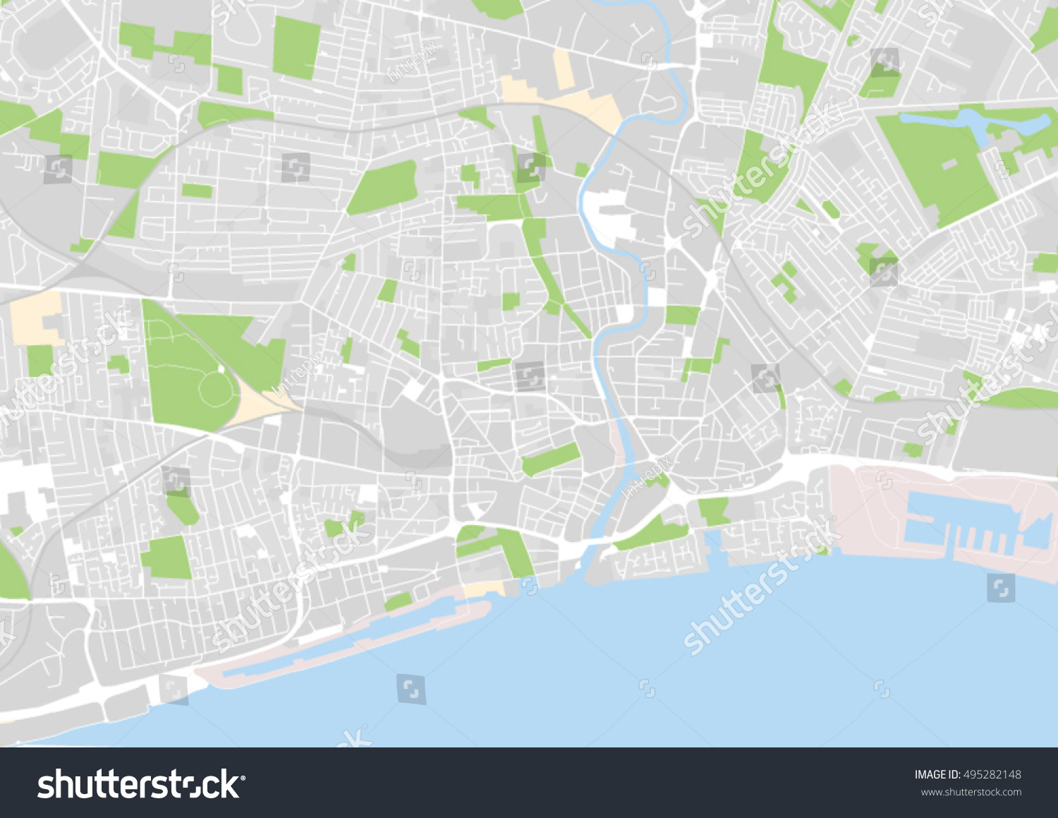 vector city map of Kingston Upon Hull United Kingdom