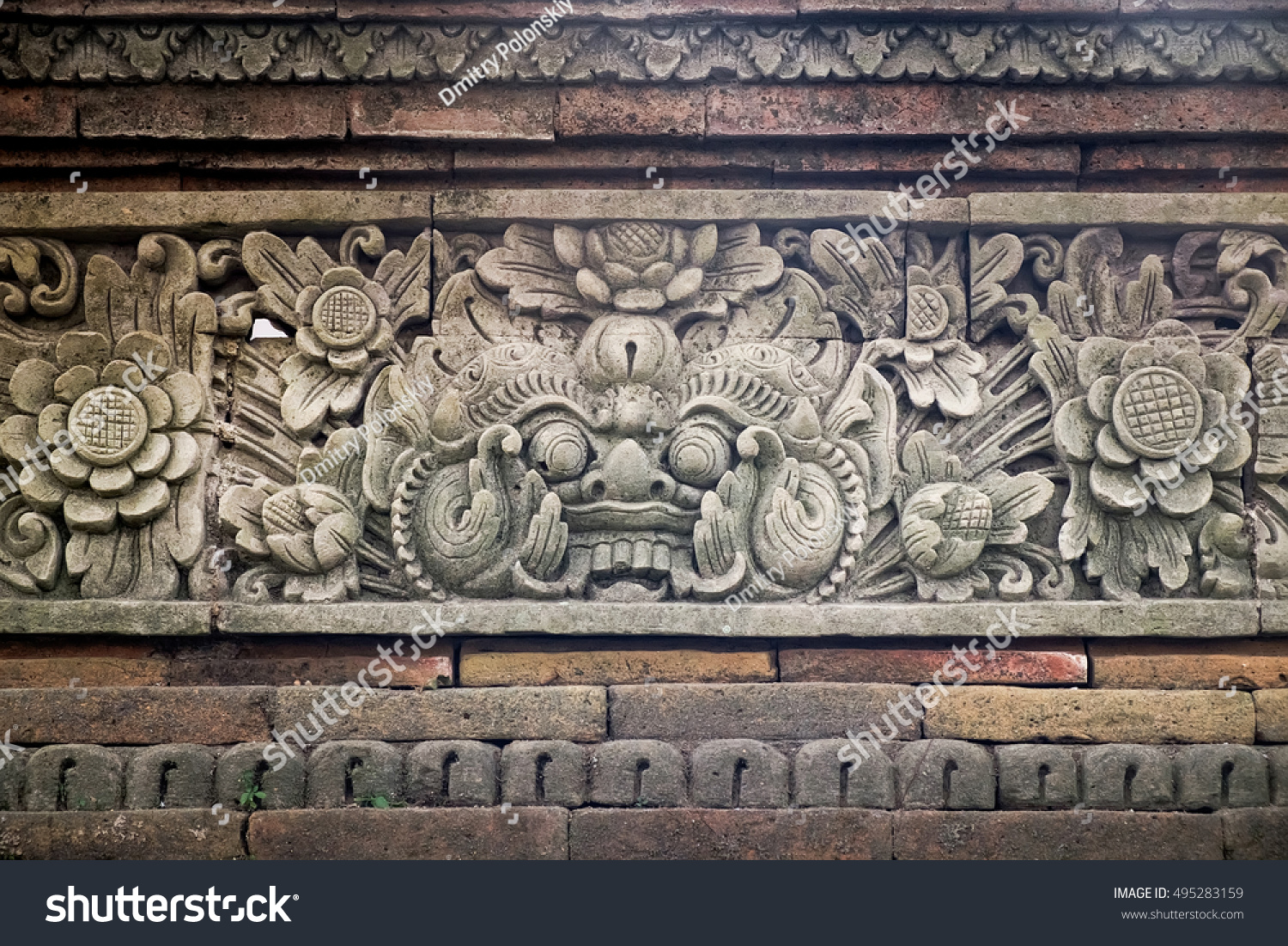 Carved Stone Fence : Carved stone fence traditional hindu temple stock photo