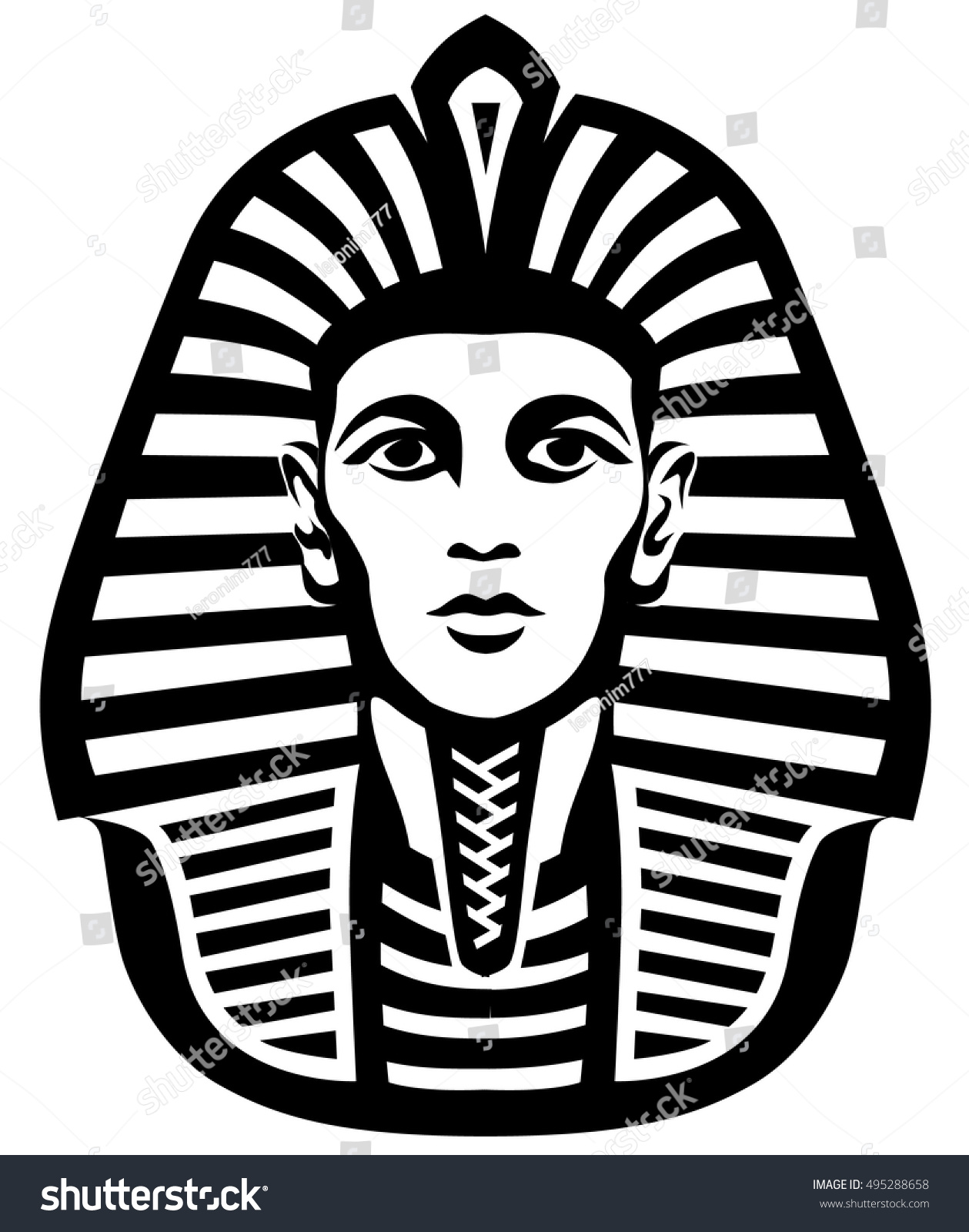 8b71a4de3 Graphic illustration of the head of the ancient Egyptian Pharaoh #495288658
