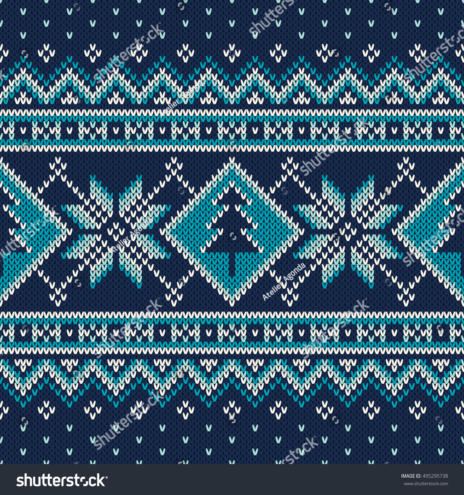 Winter Holiday Fair Isle Knitted Pattern Stock Vector 495295738 ...