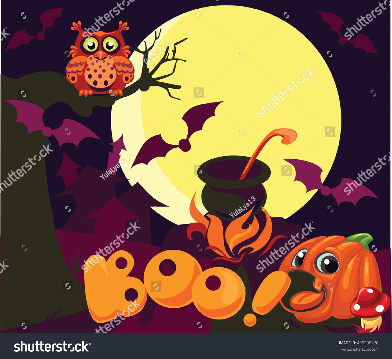 Vector Cartoon Background Halloween Decorations Childrens Stock