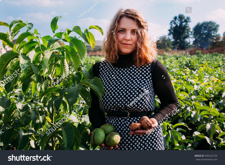 Woman Small Walnut Tree Seedling Golden Stock Photo (Edit