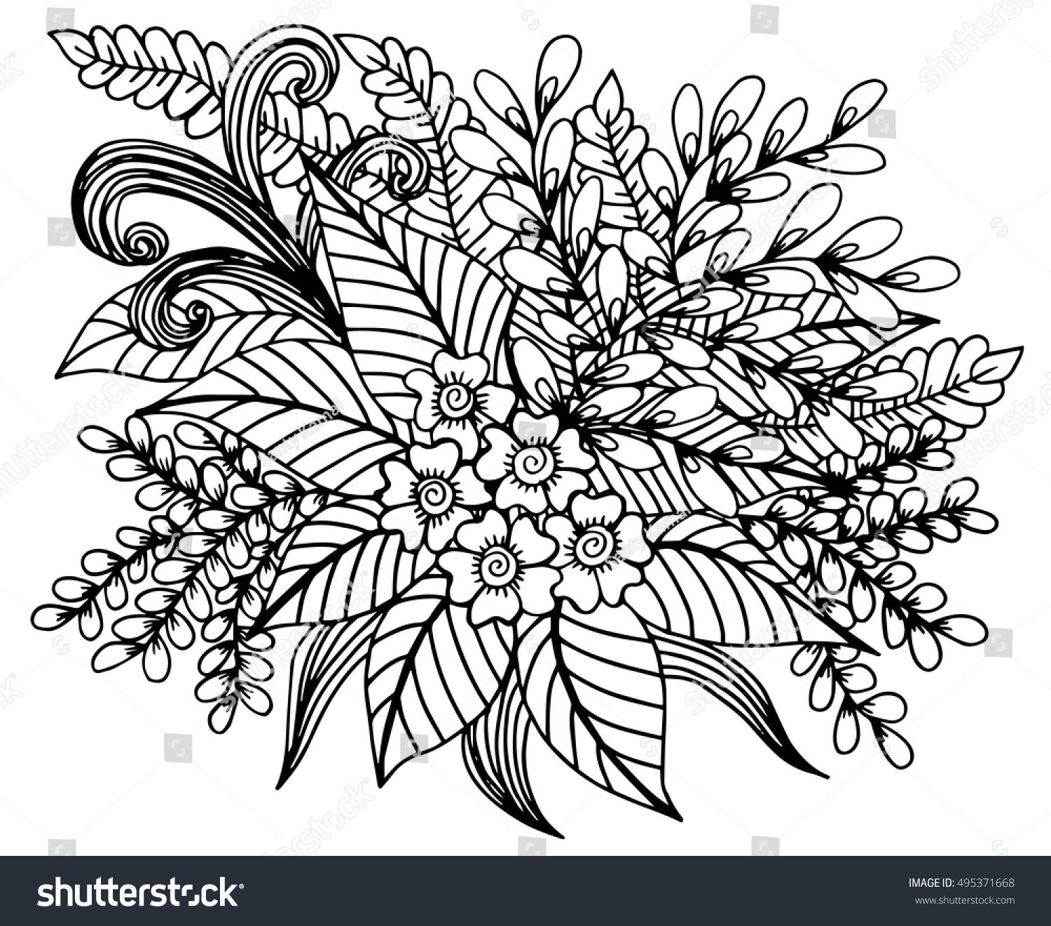 Hand Drawn Floral Doodle Coloring Pages Stock Vector Royalty Free 495371668