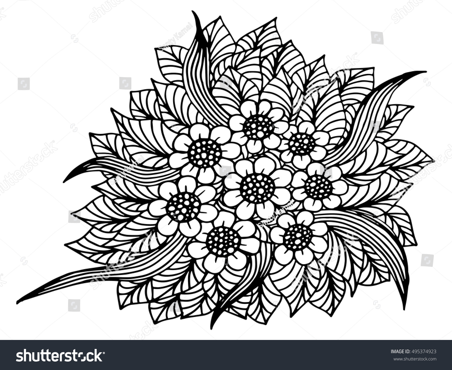 Hand Drawn Floral Doodle Coloring Pages Stock Vector