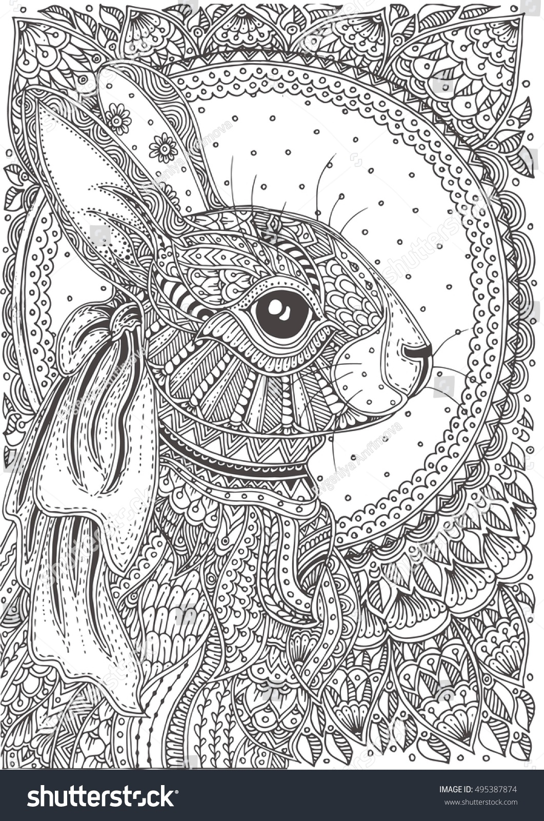 Handdrawn Rabbit Ethnic Floral Doodle Pattern Stock Vector