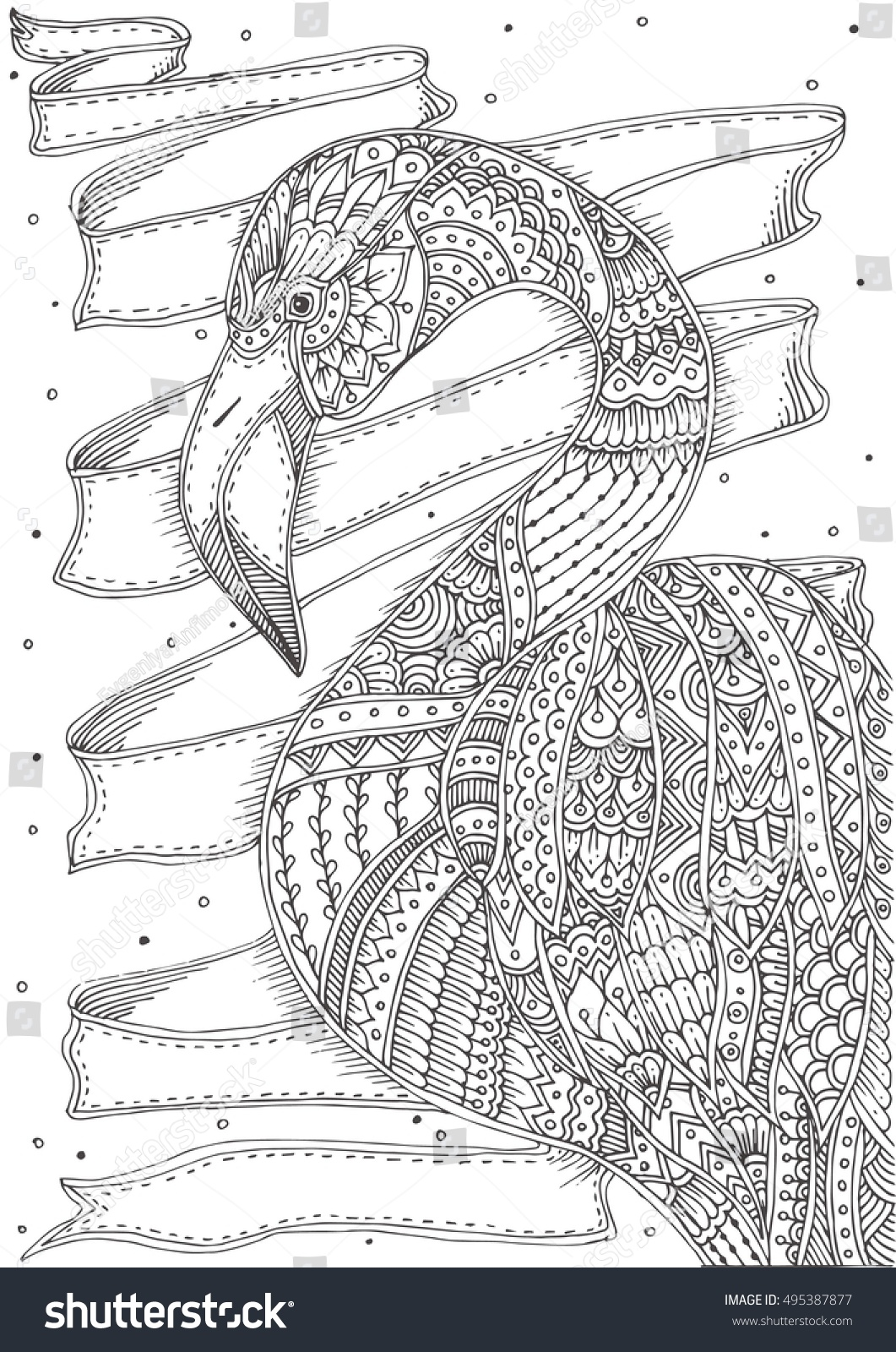 Handdrawn Flamingo Ethnic Doodle Pattern Coloring Stock
