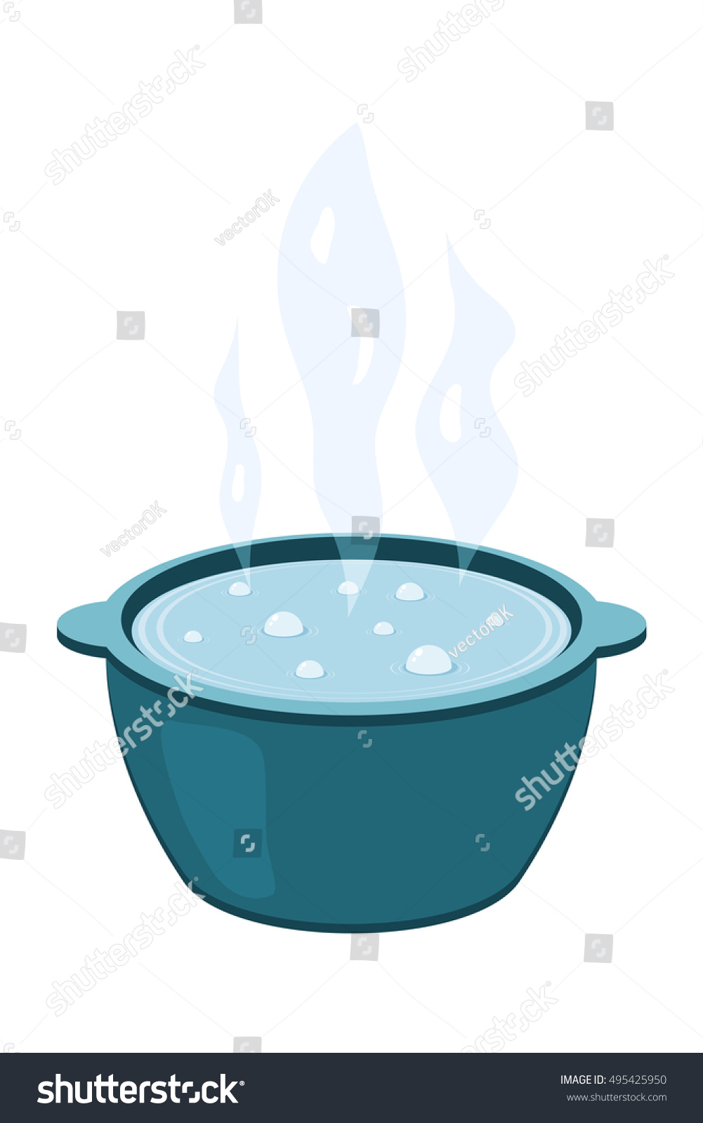 Vector Illustration Metal Pot Boiling Water Stock Vector ...