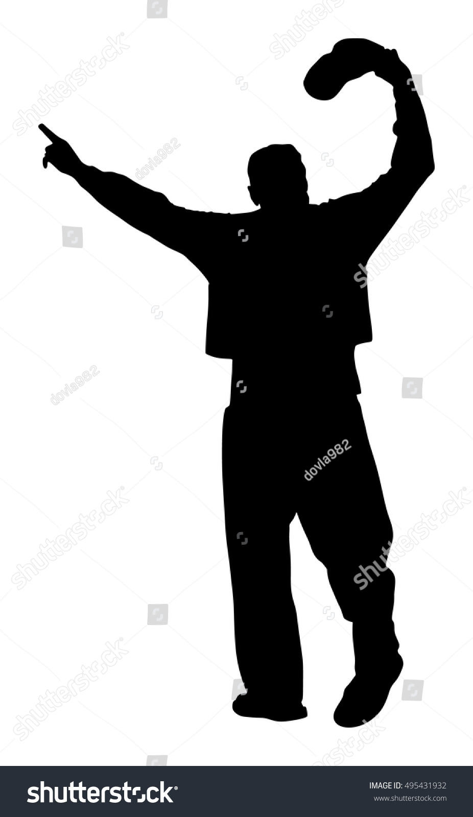 A Greek Evzone Dancer Vector Silhouette Isolated On White Background