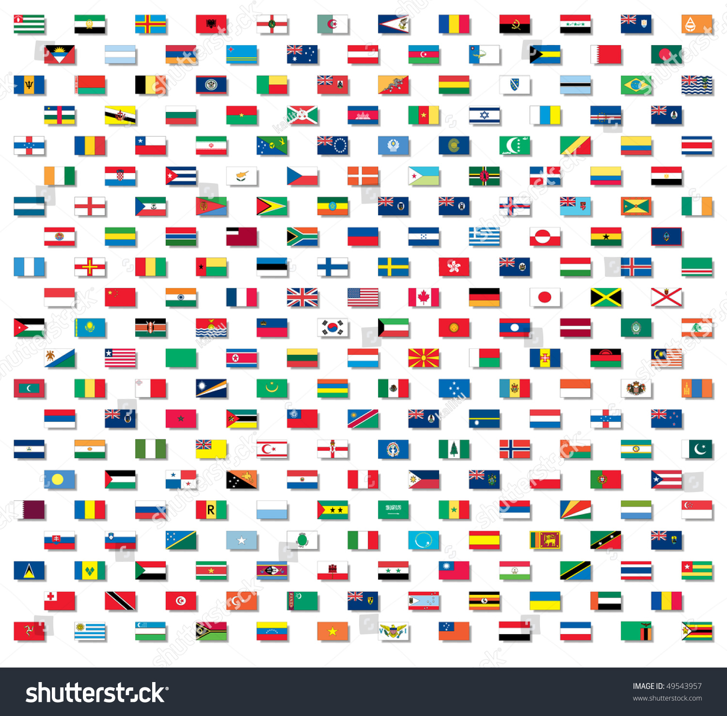 Vector World Flags Nonraster Drop Shadows Stock Vector 49543957 ...