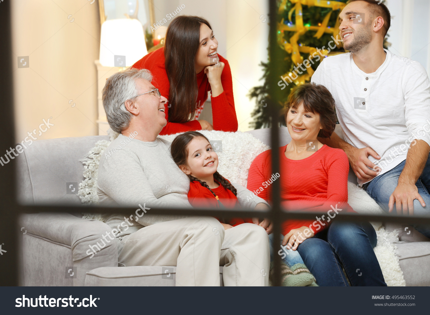 Happy family in living room