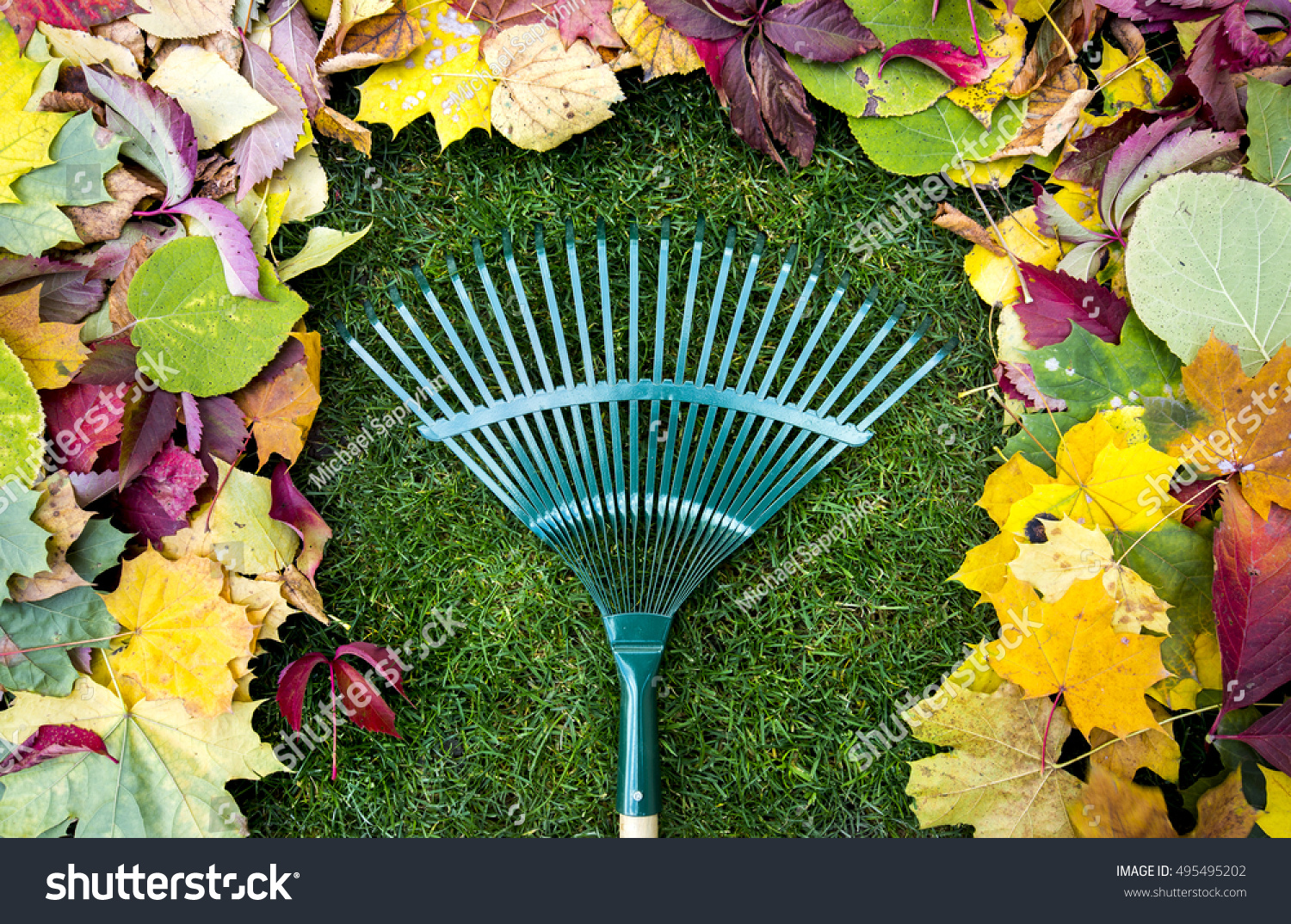 Rake On Wooden Stick Colored Autumn Stock Photo (Royalty Free ...