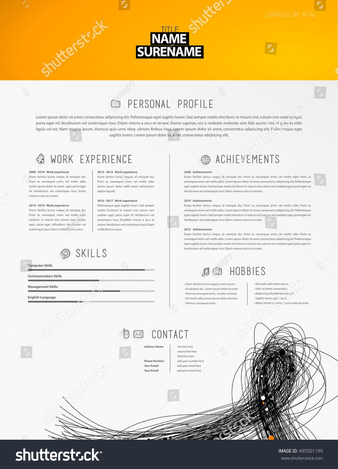 Creative Simple Resume Template Black Lines Stock Vector 495501199