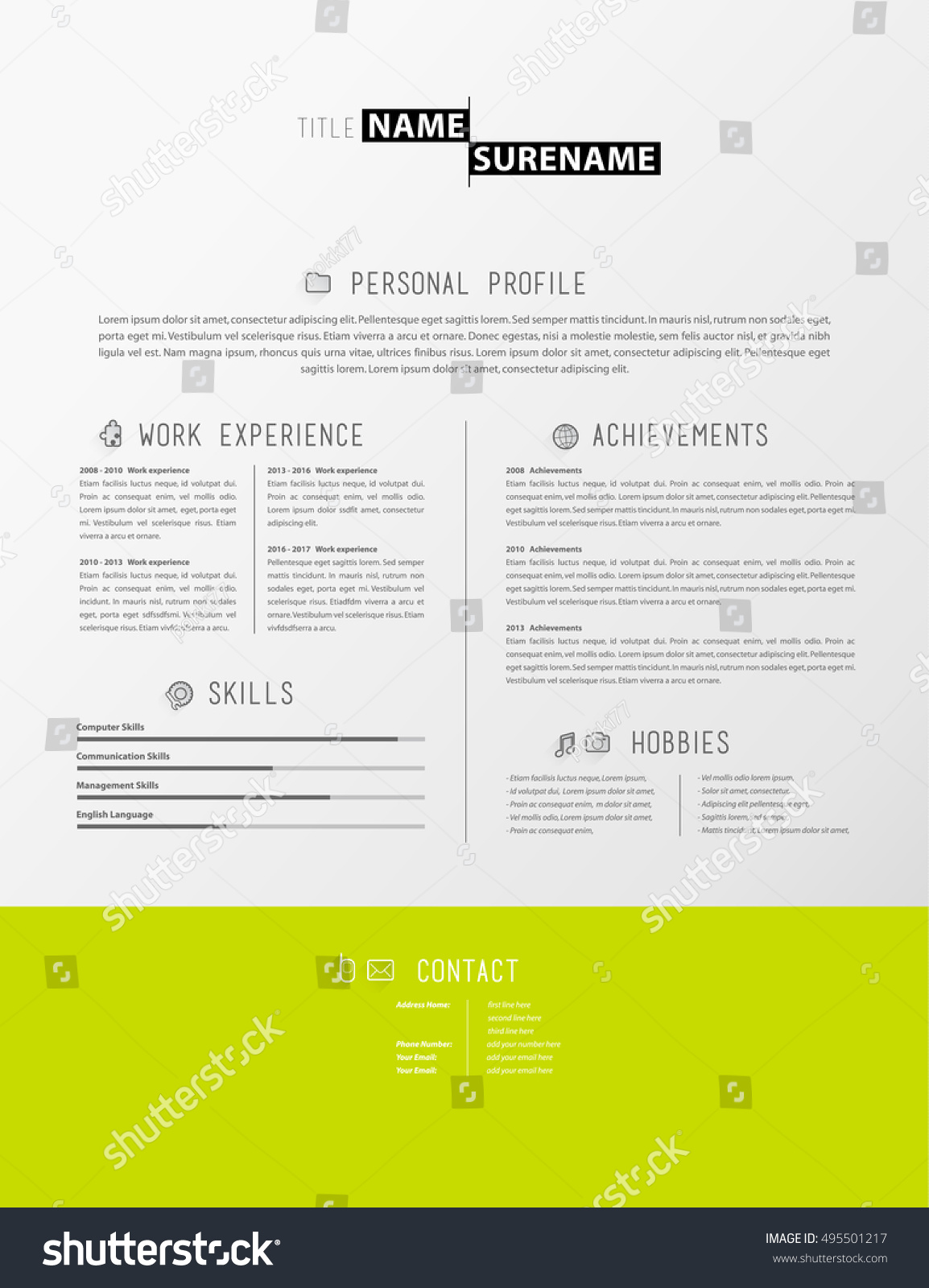creative simple resume template green stripe stock vector