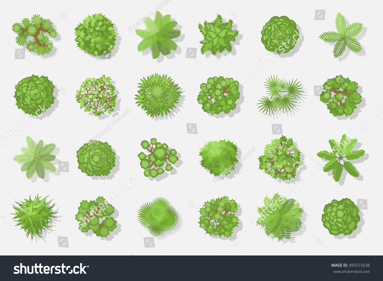 Trees Top View Different Plants Trees Stock Vector 495515038 ...