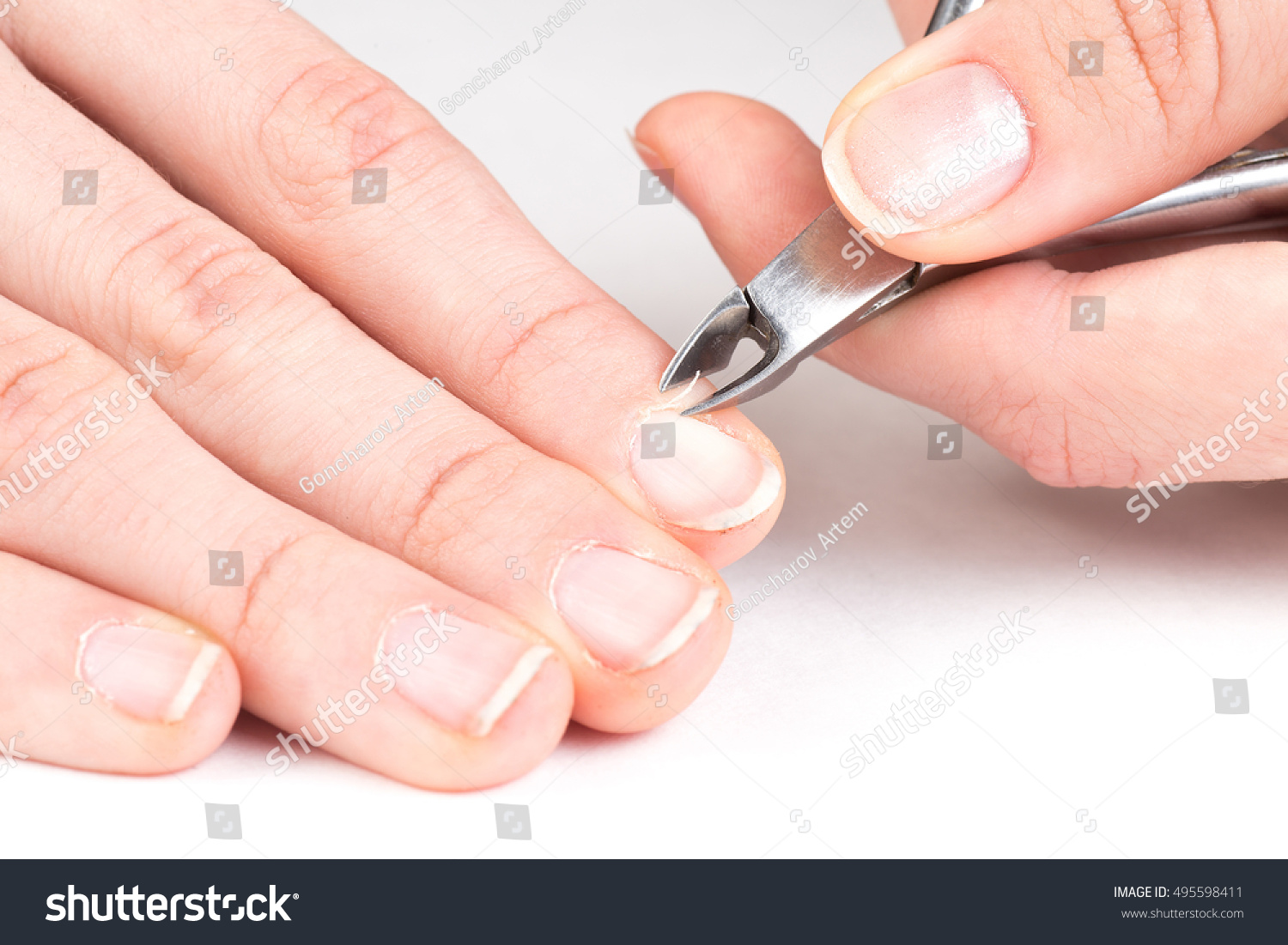 Master Manicure Cuts Off Cuticle Client Stock Photo (Royalty Free ...