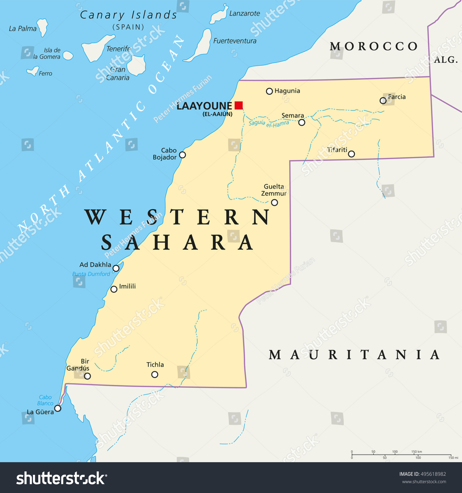 Western Sahara Map Capital Laayoune National Stock Vector 495618982