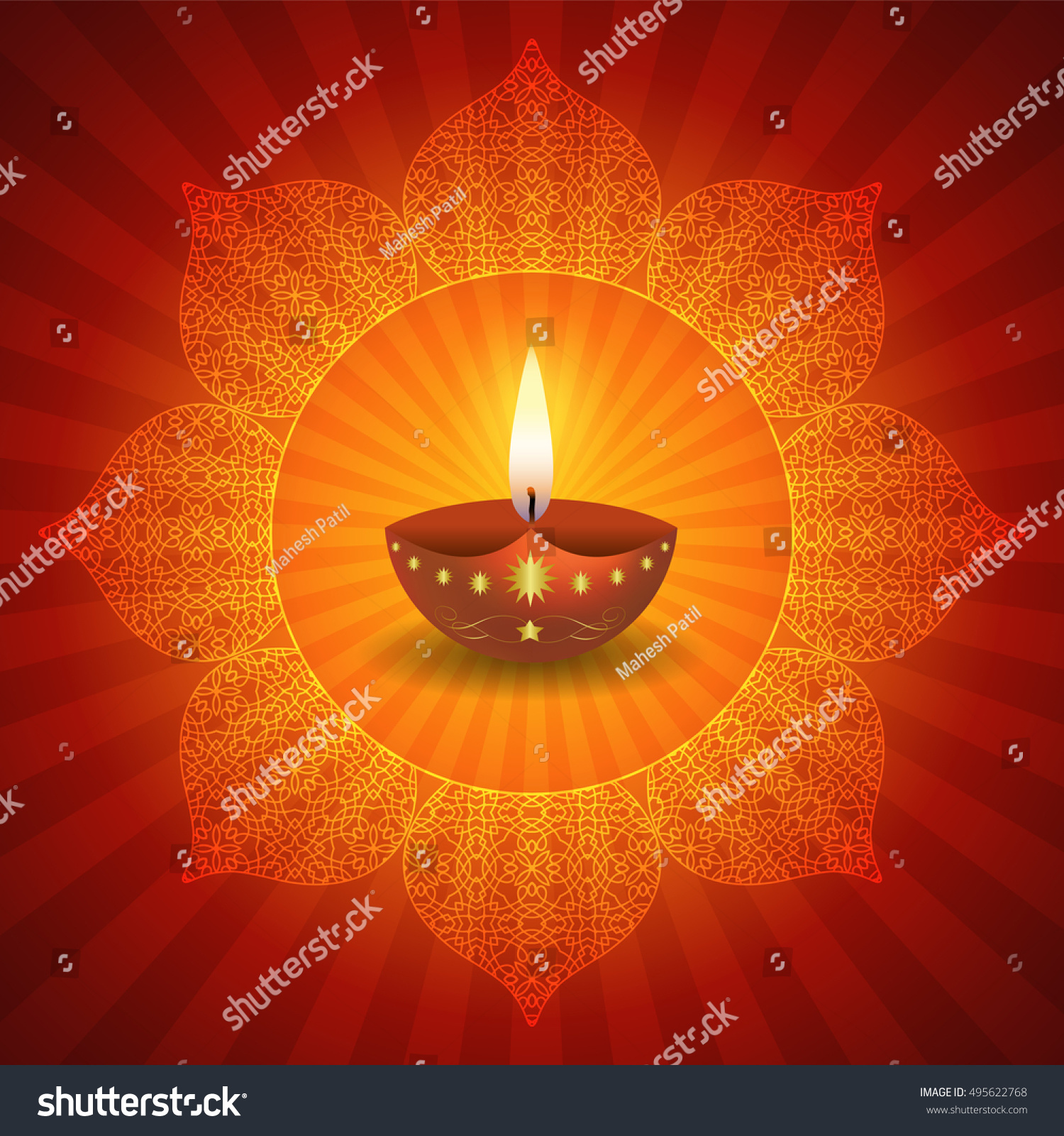 Traditional Diwali Lamps On Decorative Lotus Stock Vector ... for Diwali Lamps Designs  117dqh