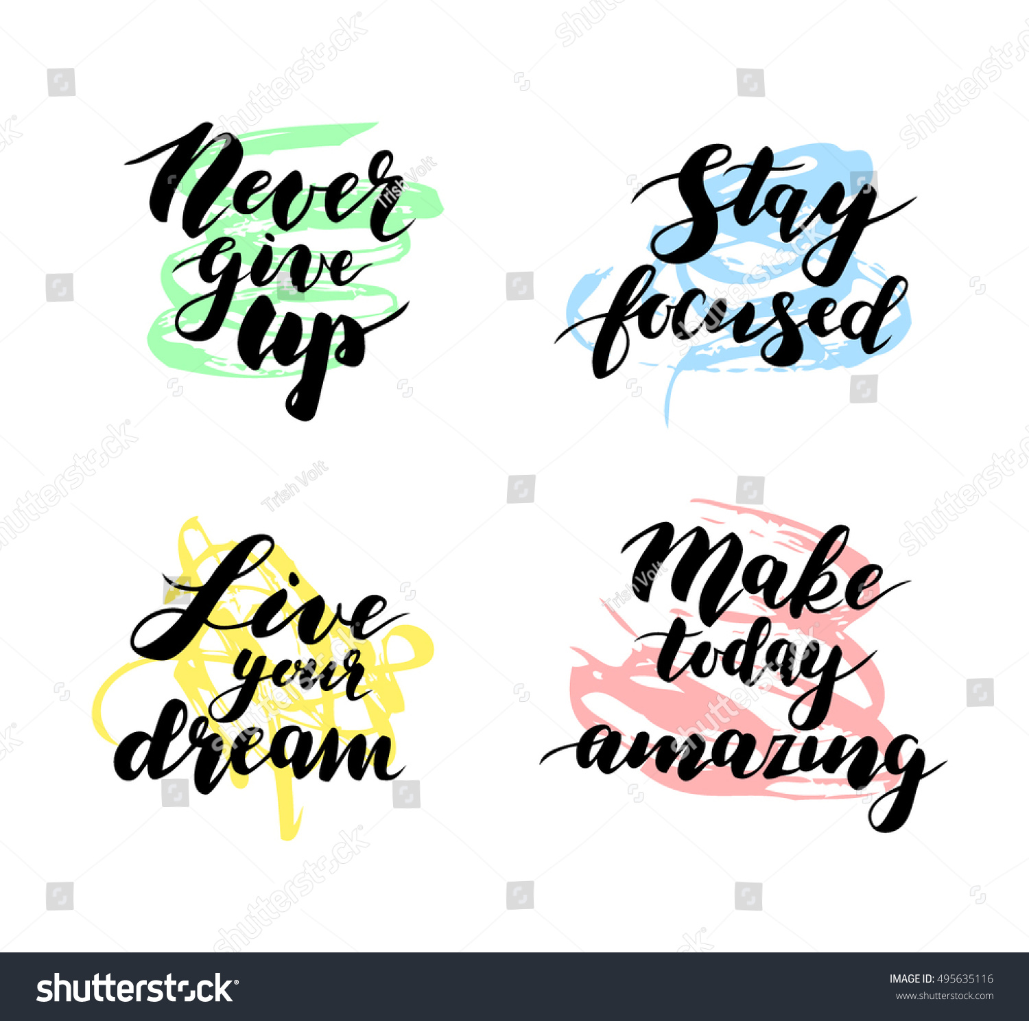 Simple Inspirational Quotes Amazing Four Motivational Inspirational Quotes Modern Calligraphy Stock