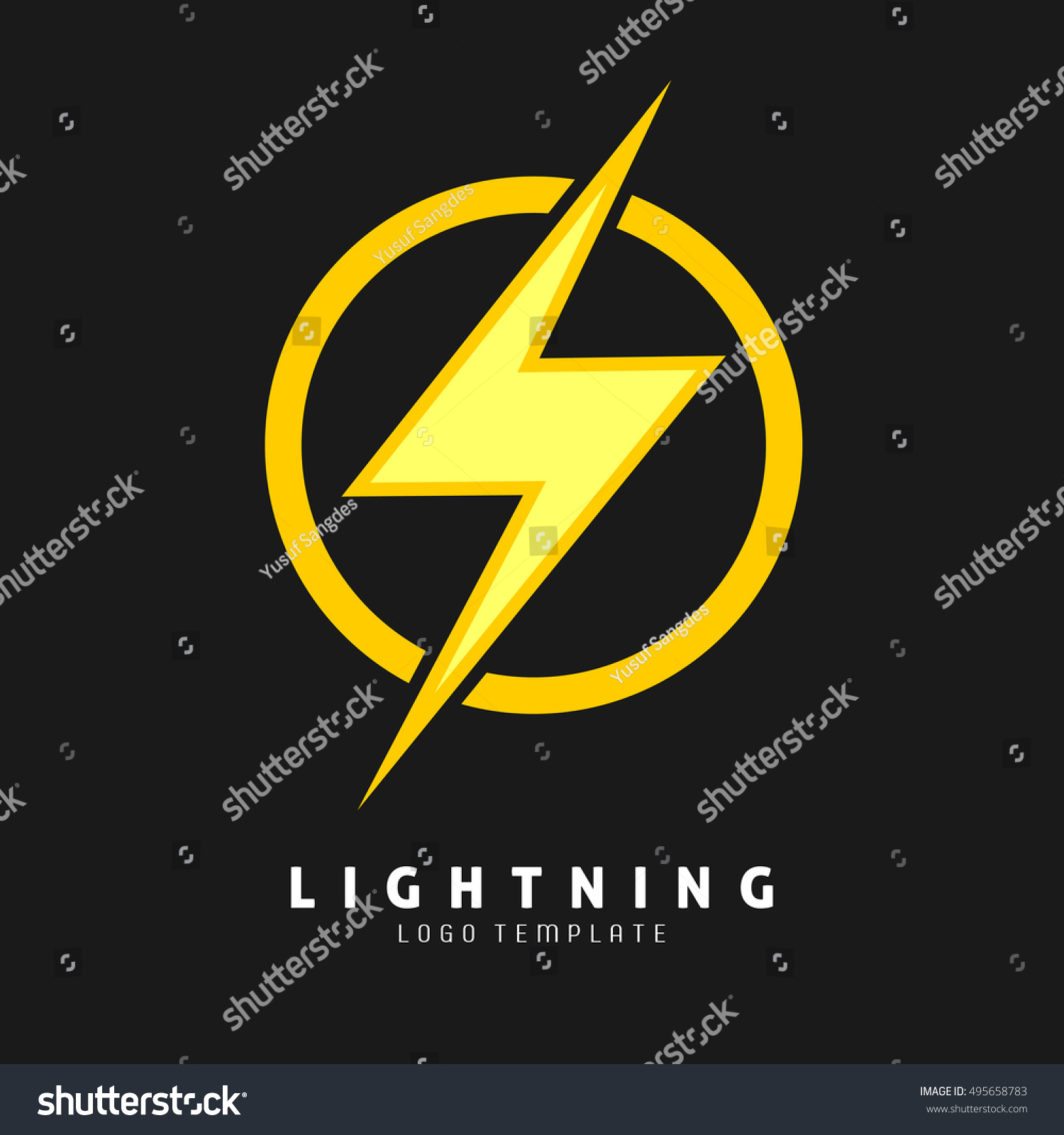 Yellow Lightning Symbol Logo Template For Electric Company And Superhero Vector Eps