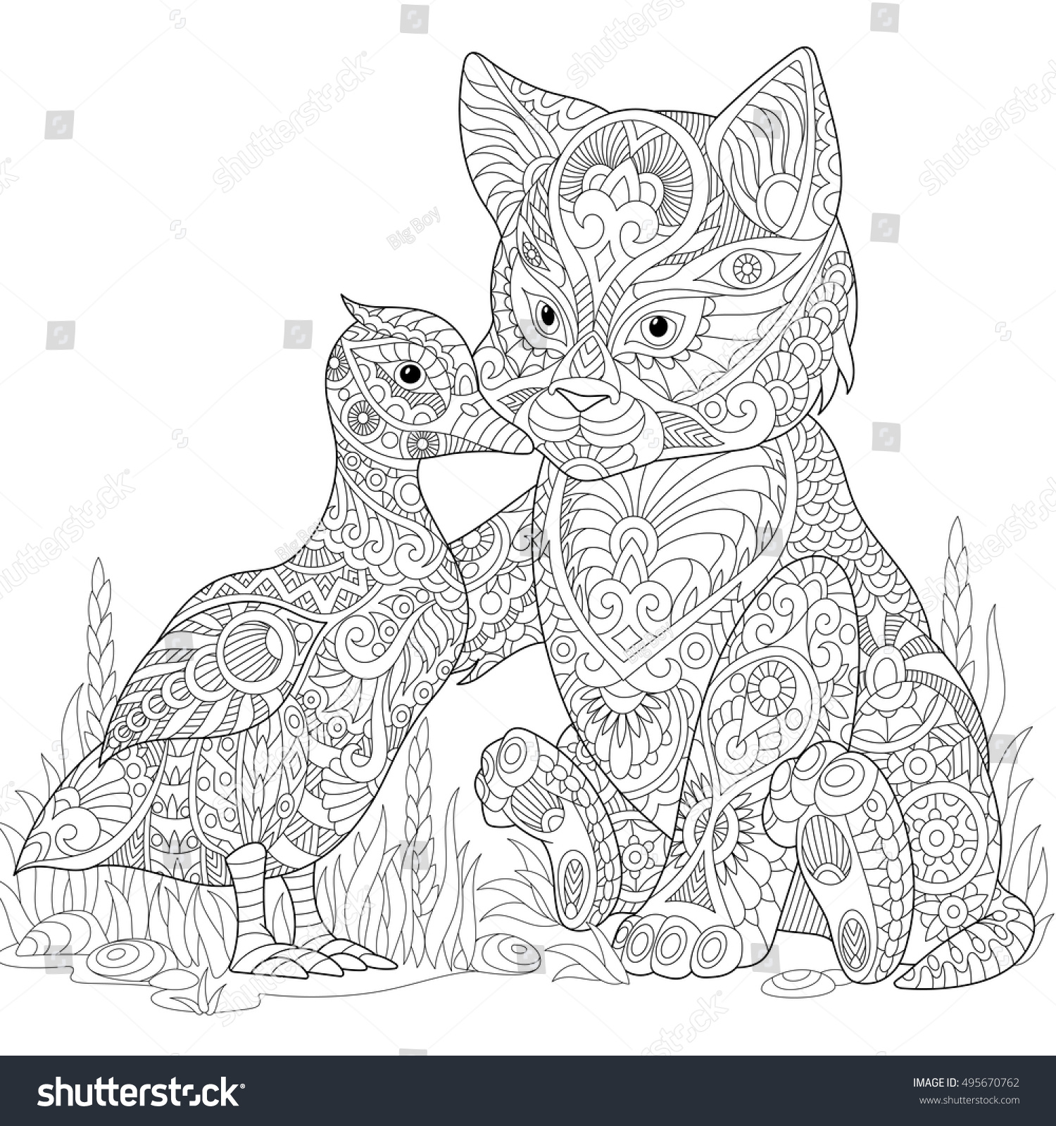 Stylized Cute Friends Cat Young Kitten And Duck Mallard Embracing Each Other