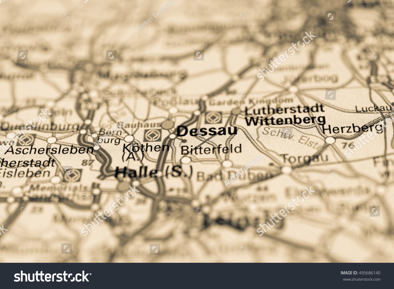 Macro View Dessau Germany On Map Stock Photo 495686140 Shutterstock
