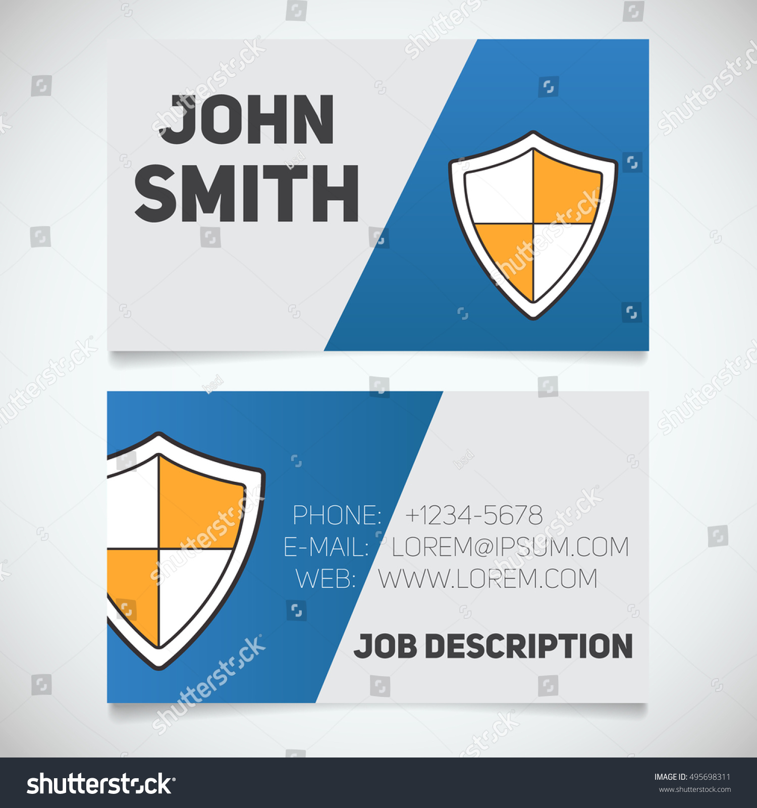 Business Card Print Template Shield Logo Stock Vector 495698311 ...