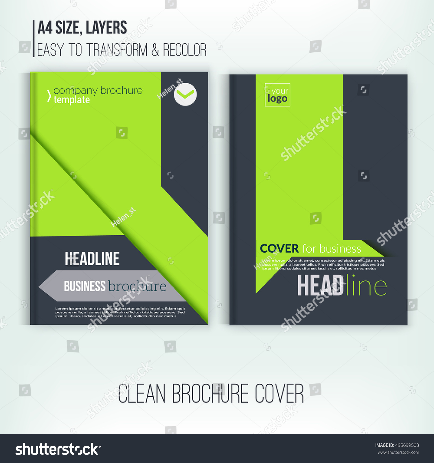 Clean Brochure Design Annual Report Cover Stock Vector 495699508 ...