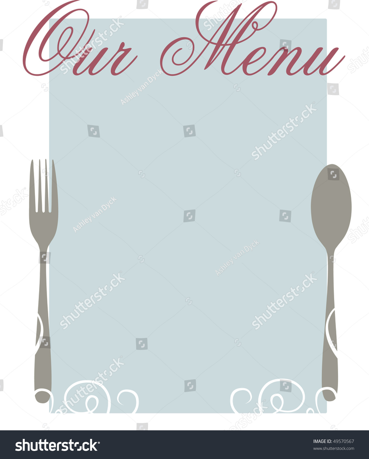 elegant blank menu template stock illustration 49570567 - shutterstock