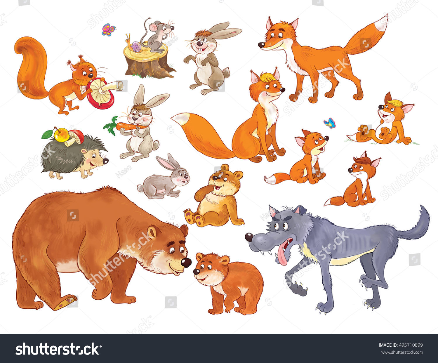 zoo set cute funny woodland animals stock illustration 495710899