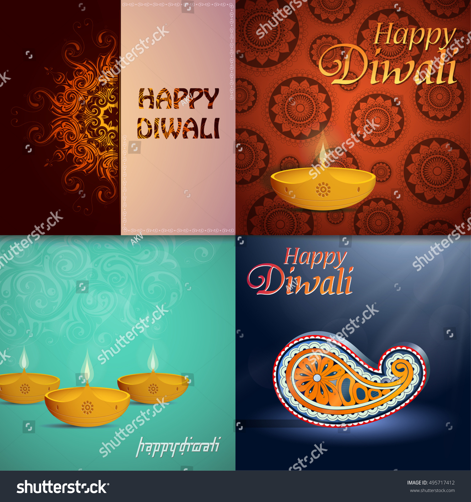 Set Indian Festival Diwali Greeting Cards Stock Vector Royalty Free
