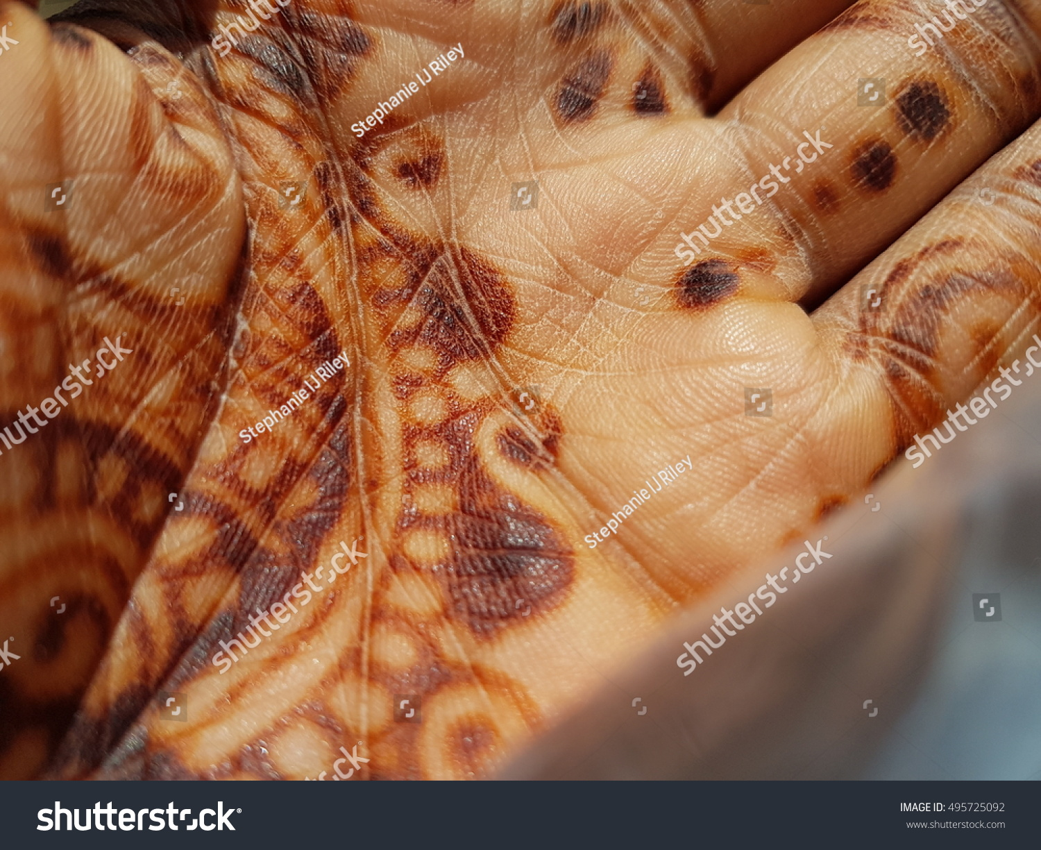 Sun Kissed Henna Hand Stock Photo Edit Now 495725092 Shutterstock