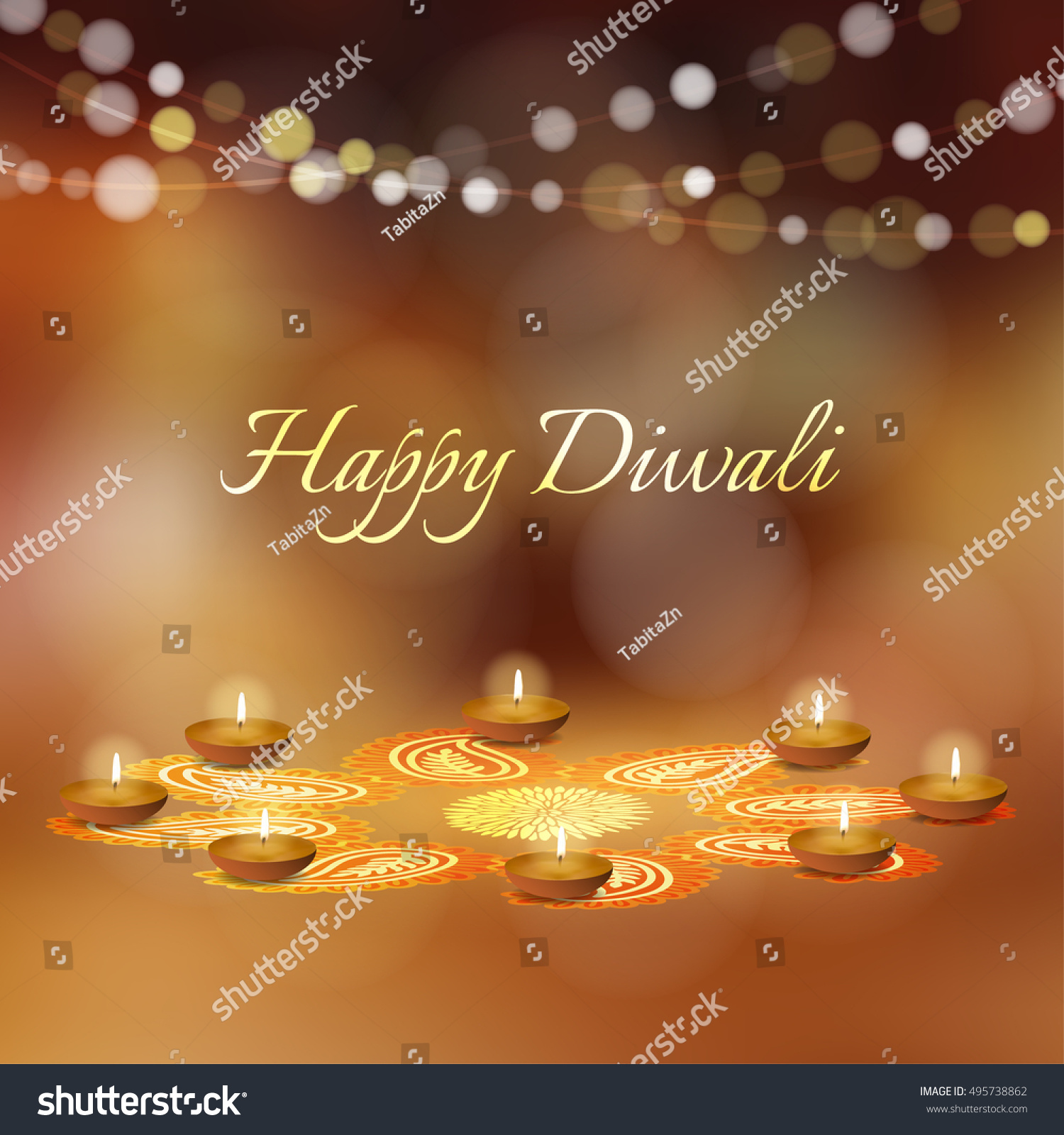 Happy diwali greeting card invitation indian stock vector 495738862 happy diwali greeting card invitation indian festival of lights diya oil lit lamps m4hsunfo