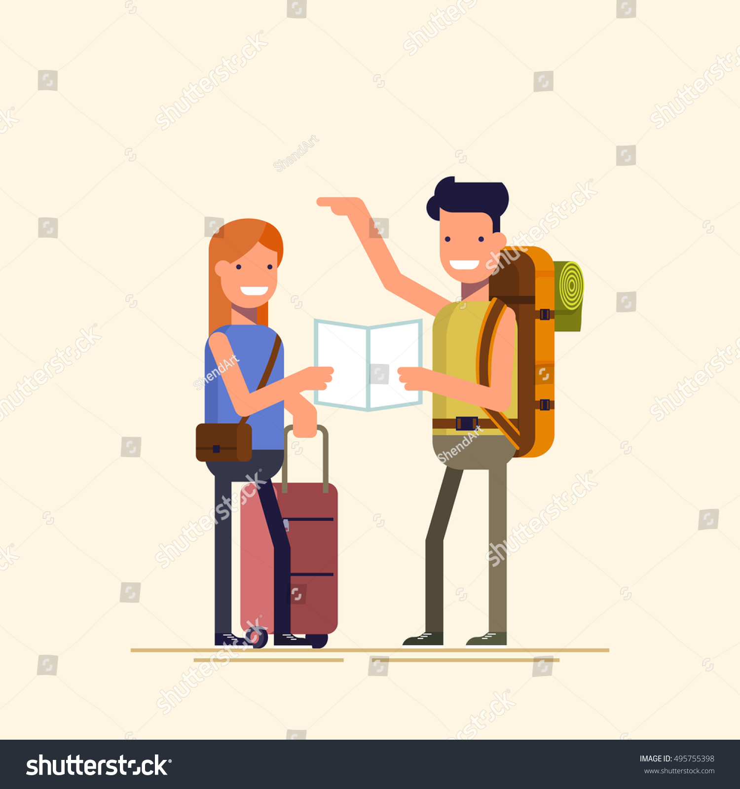 Two Travelers Choosing Route Map Guy Stock Vector ...