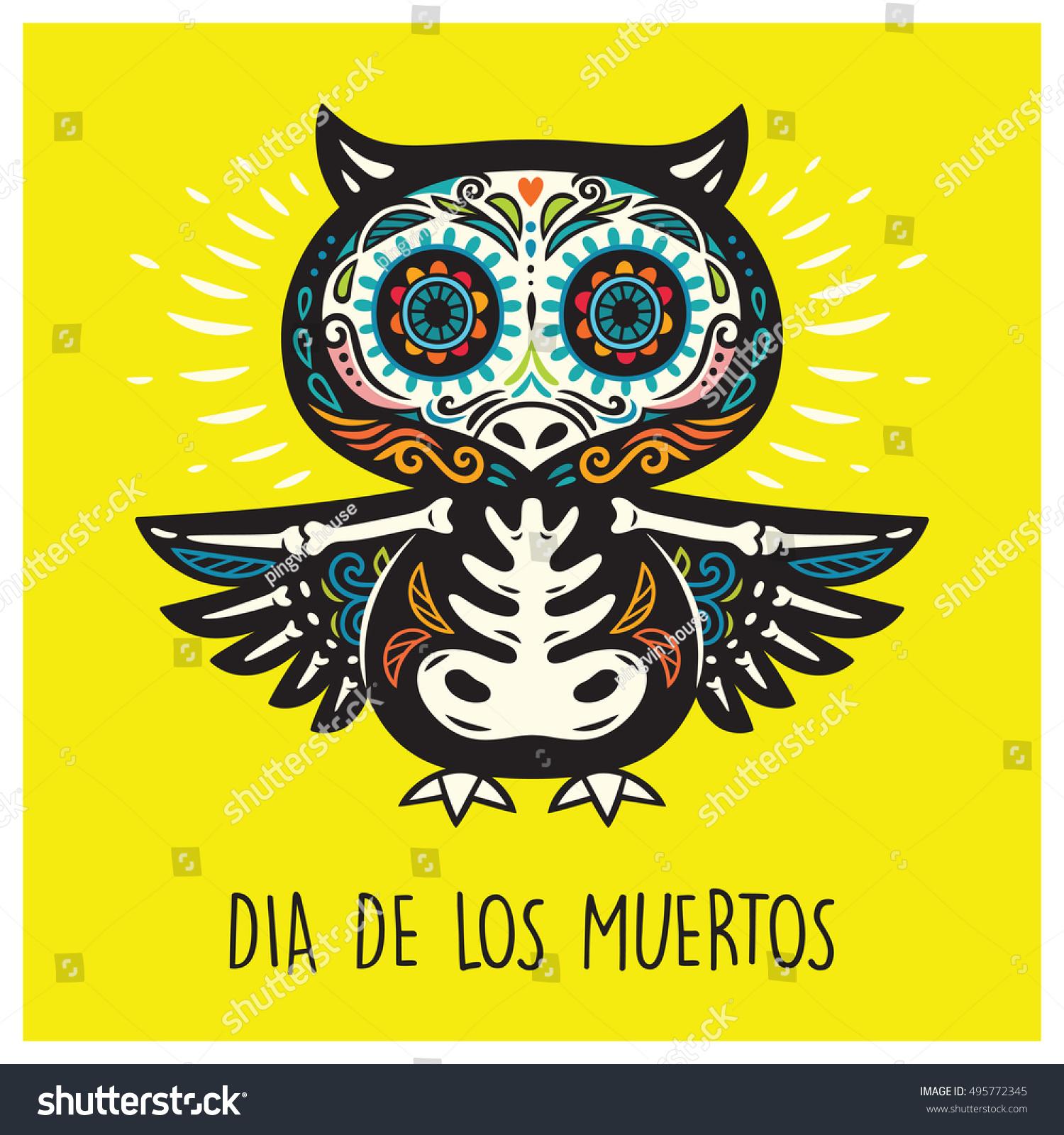 Greeting Card Sugar Skull Owl Mexican Stock Vector Royalty Free